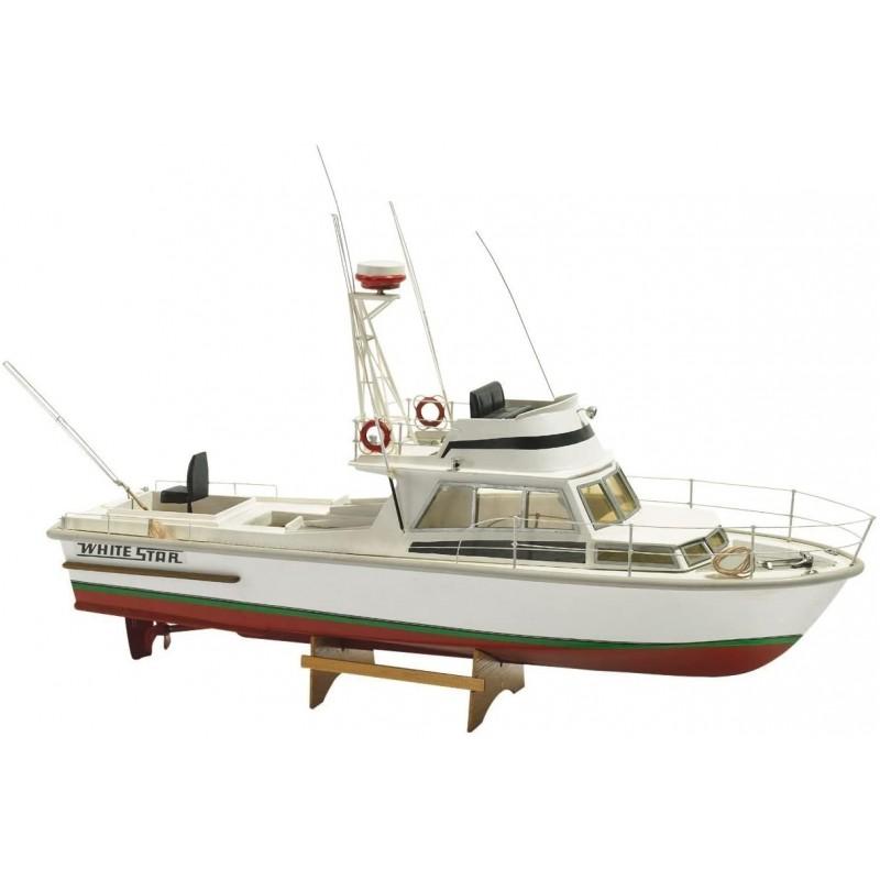 1/15 WHITE STAR (Length 540mm) AMERICAN TUNA FISHING MOTOR BOAT ΞΥΛΙΝΑ ΠΛΟΙΑ