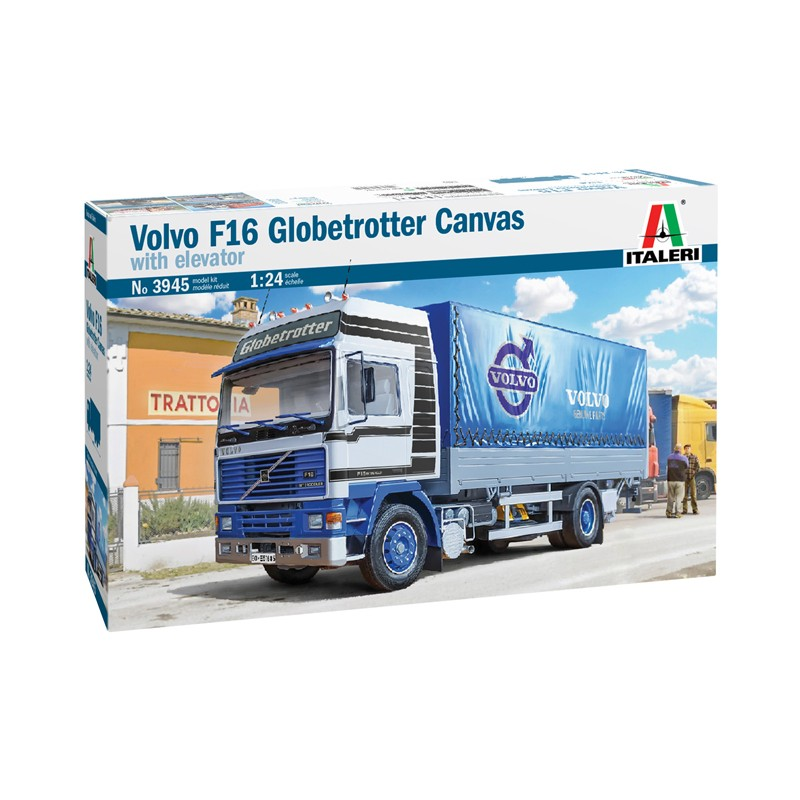 1/24 VOLVO F16 GLOBETROTTER CANVAS TRUCK with elevator ΠΟΛΙΤΙΚΑ ΟΧΗΜΑΤΑ