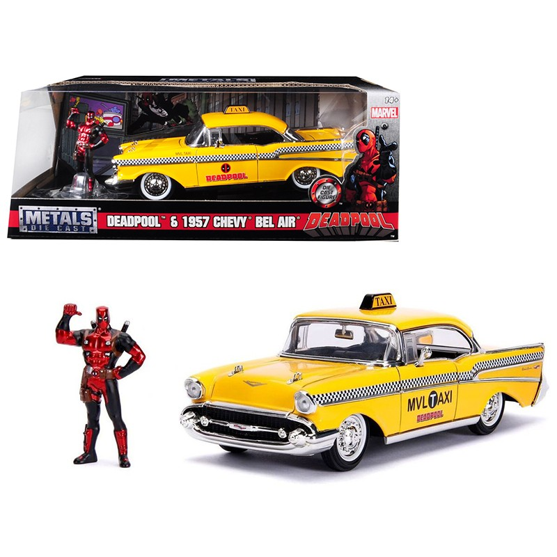 1/24 1957 CHEVY BEL AIR TAXI with DEADPOOL FIGURE ΑΥΤΟΚΙΝΗΤΑ