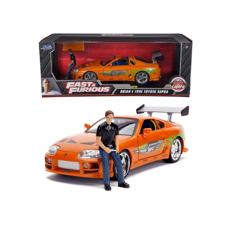 1/18 BRIAN 'S TOYOTA SUPRA ORANGE 1995 ''FAST & FURIOUS'' with BRIAN FIGURE (with Working Lights) ΑΥΤΟΚΙΝΗΤΑ