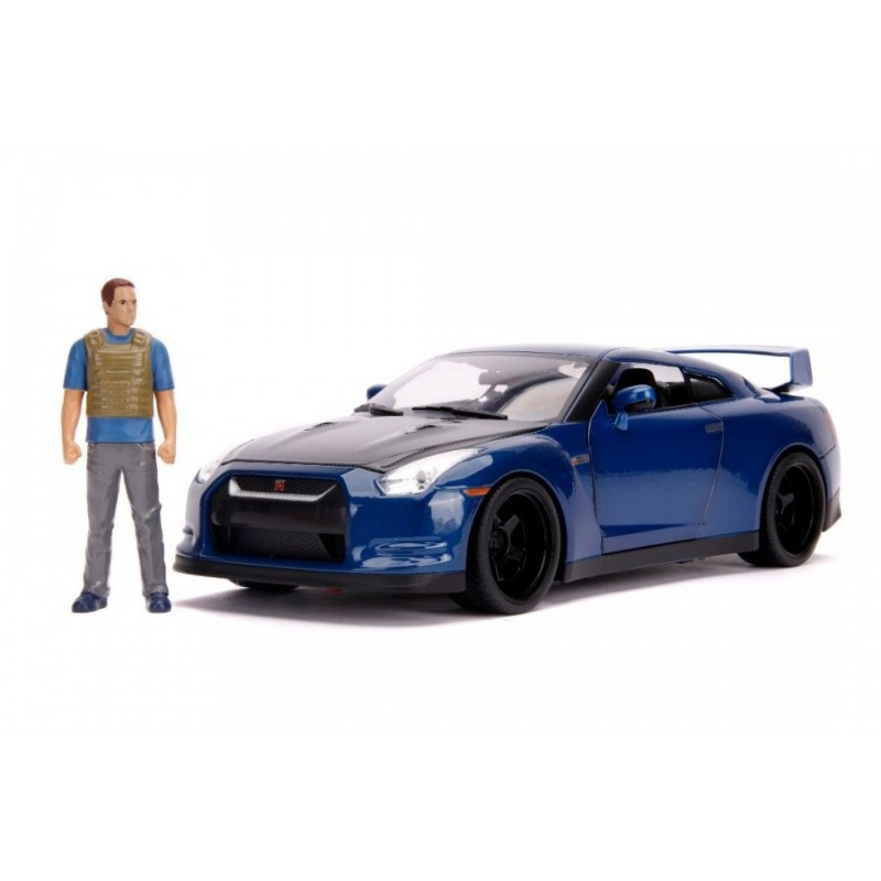 1/18 BRIAN 'S NISSAN GT-R (R35) BLUE 2009 ''FAST & FURIOUS 7'' with BRIAN FIGURE (with Working Lights) ΑΥΤΟΚΙΝΗΤΑ