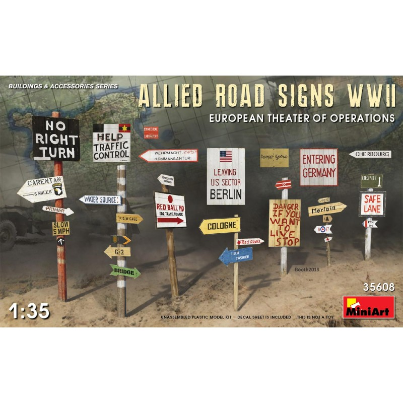 1/35 ALLIED ROAD SIGNS WWII EUROPEAN THEATER OF OPERATIONS ΑΞΕΣΟΥΑΡ ΔΙΟΡΑΜΑΤΩΝ