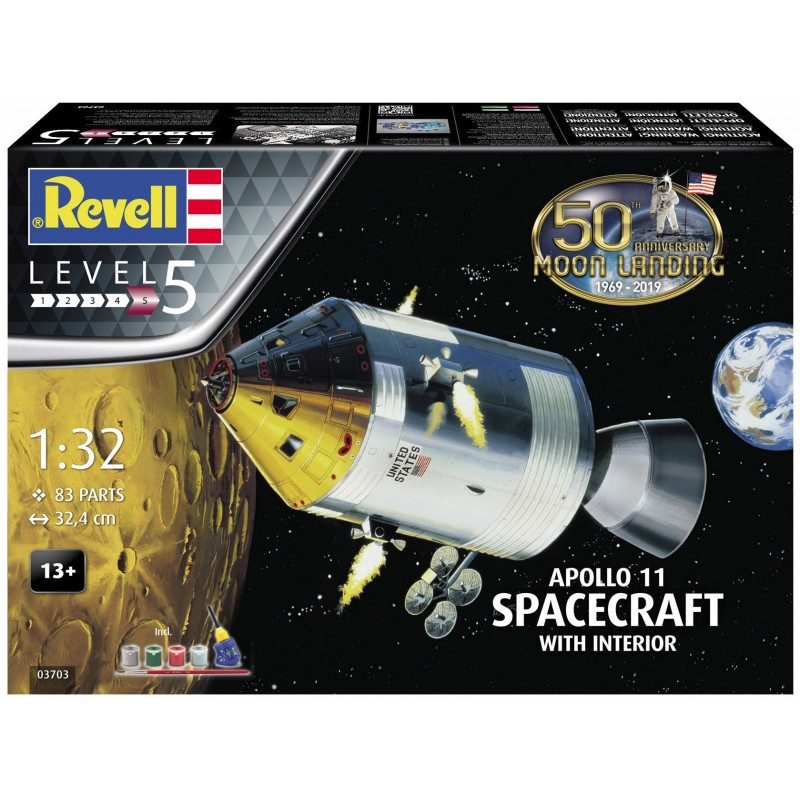 1/32 APOLLO 11 SPACECRAFT WITH INTERIOR (50th Anniversary of the Moon Landing) (incl. 4 paints, 1 paint brush, 1 needle glue) ΔΙΑΣΤΗΜΙΚΑ KITS