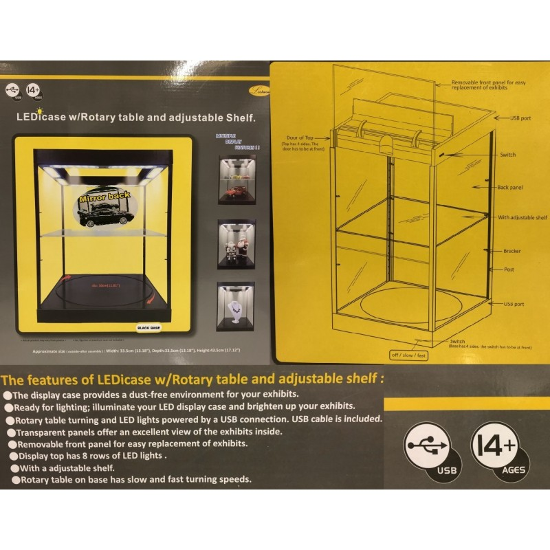 DISPLAY CASE 325x325x365mm for 1/18 WITH ROTARY BASE, MIRROR BACK AND LEDS (BLACK BASE) ΒΙΤΡΙΝΕΣ- ΒΑΣΕΙΣ ΣΤΗΡΙΞΗΣ