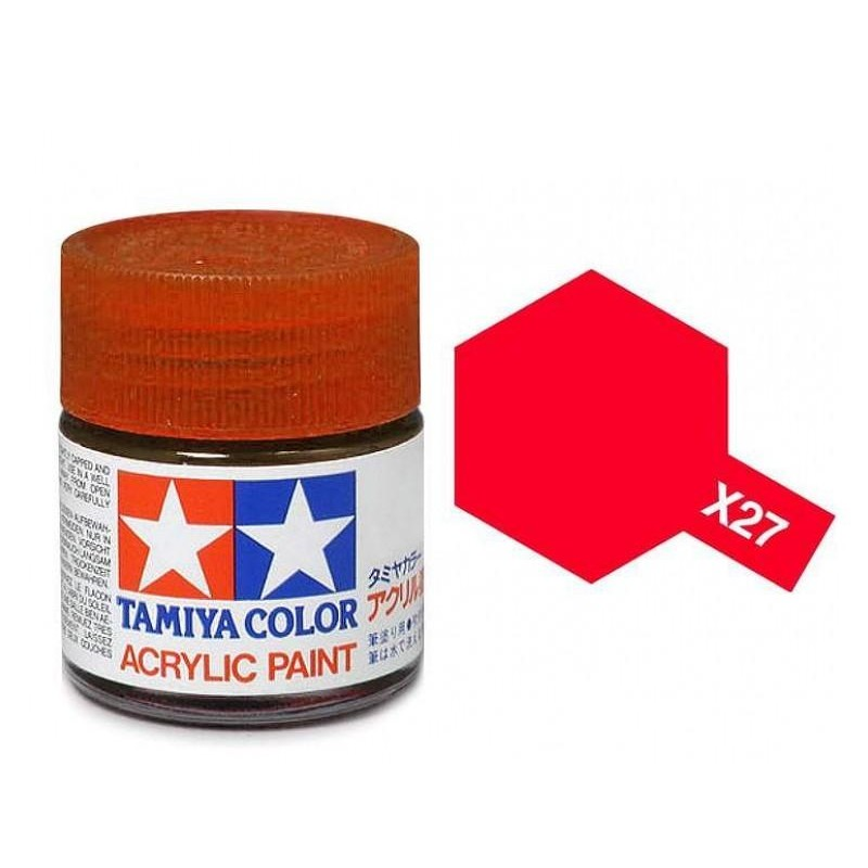 X-27 CLEAR RED - ACRYLIC PAINT MINI (GLOSS) 10ml CLEAR COLOURS